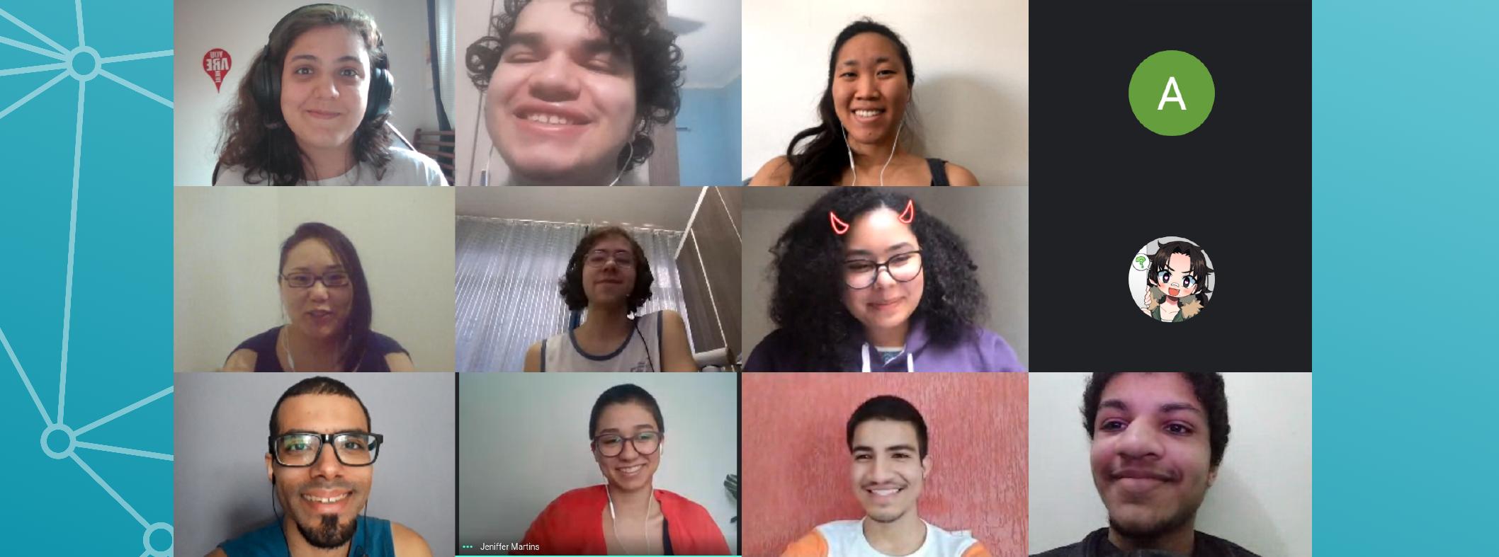 Captura de tela de uma vídeo-chamada com 12 pessoas, cujas imagens formam um retângulo 4 por 3.