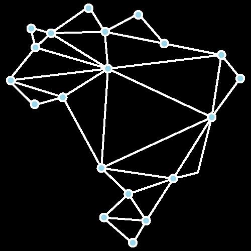 Logo branco do Tecs (o mapa do Brasil desenhado como um grafo).